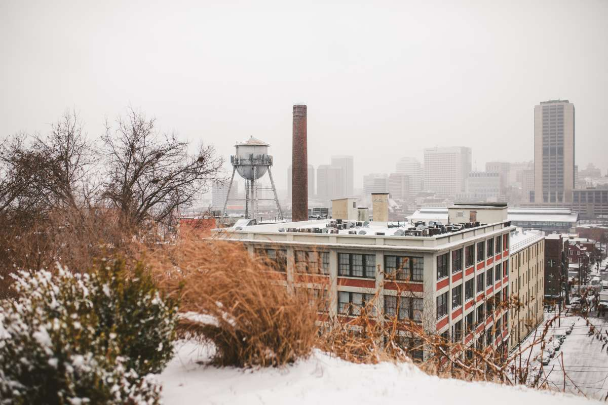 01 Richmond Virginia - Shockoe Bottom Downtown Neighborhood - Lucky Strike Building - Snow Winter Skyline - Historic Landmark.JPG