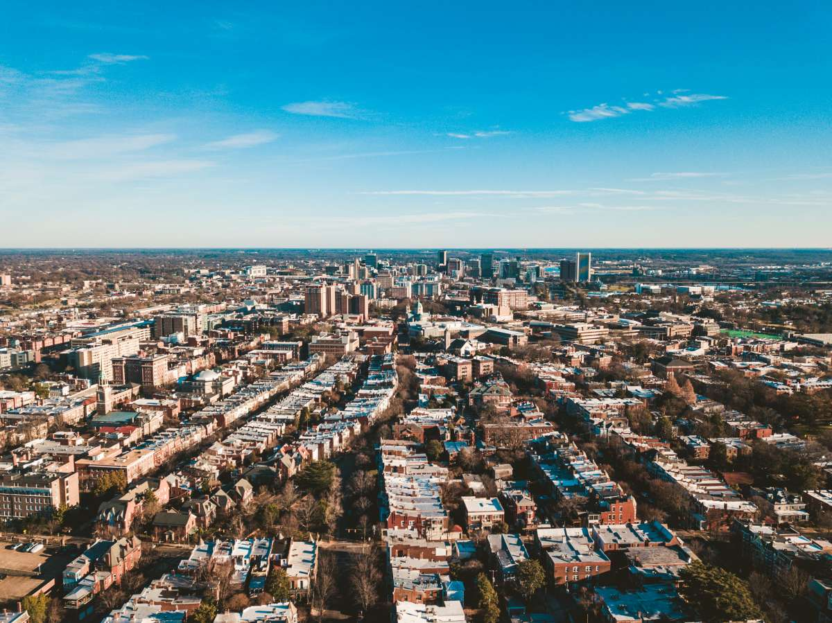 01 Richmond Virginia - The Fan Neighborhood VCU Campus - Skyline Aerial - Buildings Warehouses Apartments City.JPG