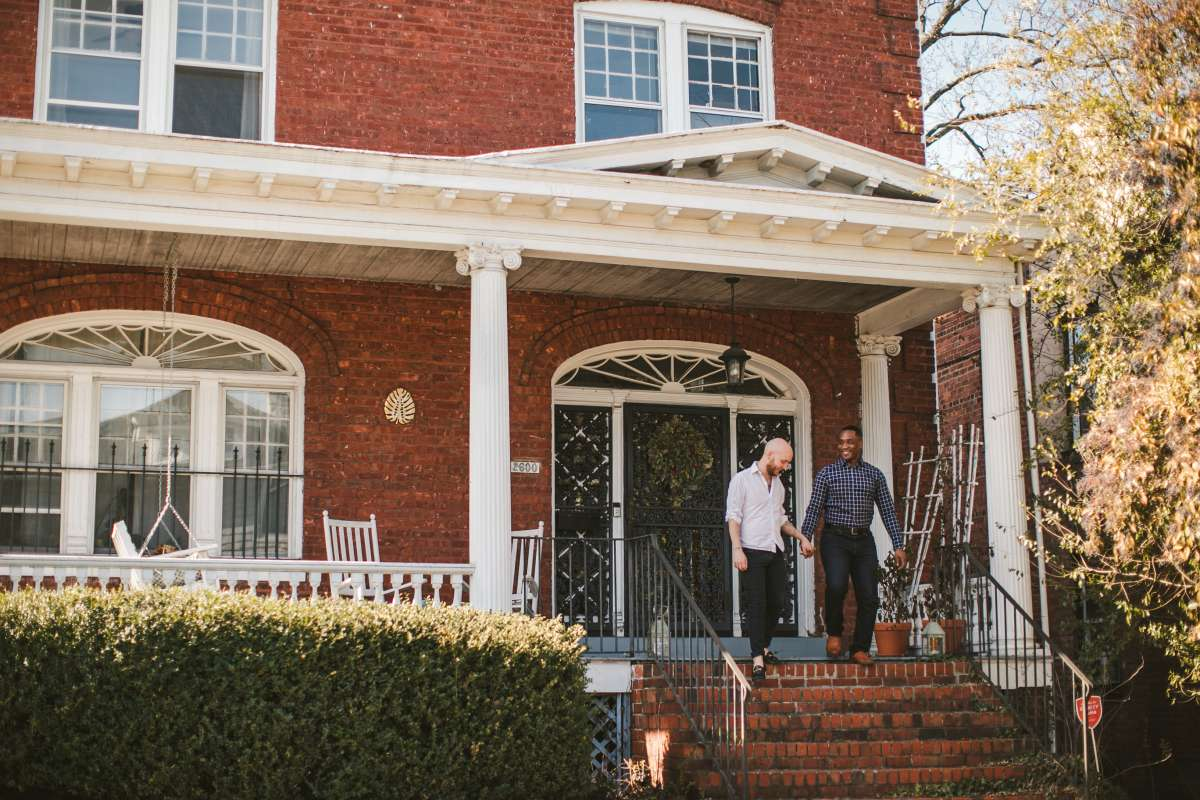 01 Richmond Virginia Northside - Home House Design - Couple Gay LGBT - Porch Columns Brick - Sunny Happy Smile.JPG