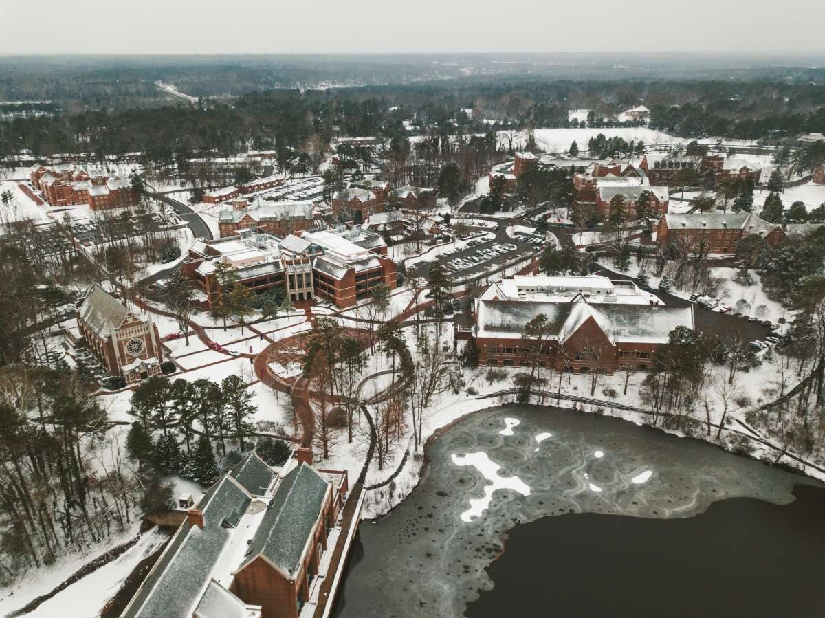 01 University of Richmond UofR - Virginia - Campus School - Lake Winter Snow - Aerial Nature Trail.JPG