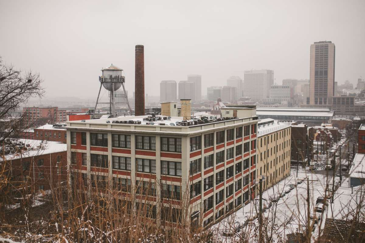 02 Richmond Virginia - Shockoe Bottom Downtown Neighborhood - Lucky Strike Building - Snow Winter Skyline - Historic Landmark.JPG