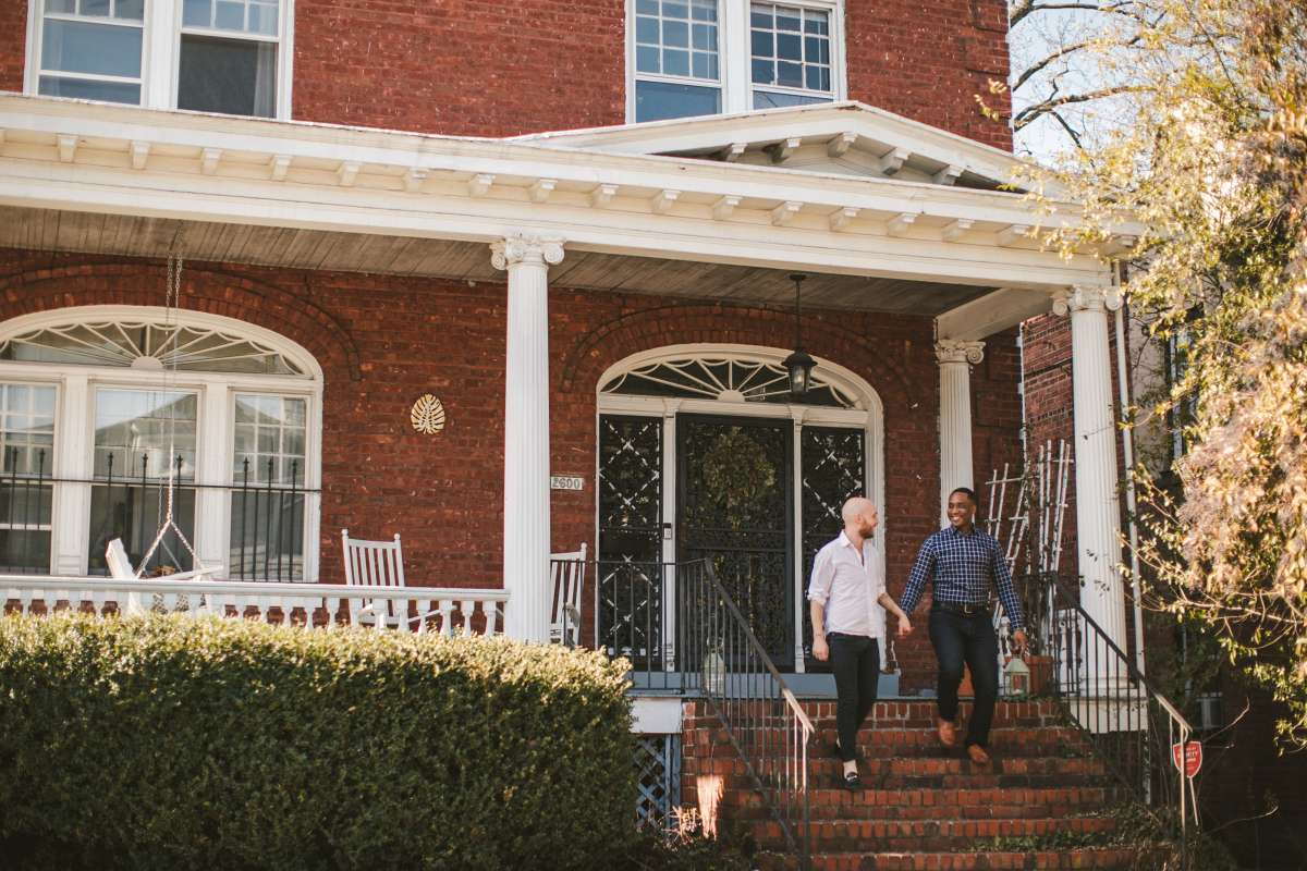 02 Richmond Virginia Northside - Home House Design - Couple Gay LGBT - Porch Columns Brick - Sunny Happy Smile.JPG