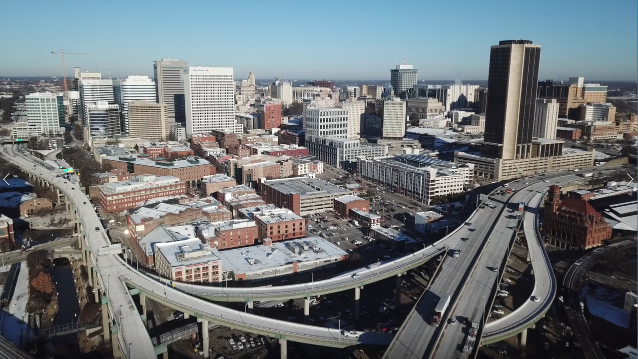 02 Richmond Virginia Video - Shockoe Bottom Neighborhood Downtown - Aerial Highway Commute Car Drive - Business - Buildings Warehouses Apartments.mov