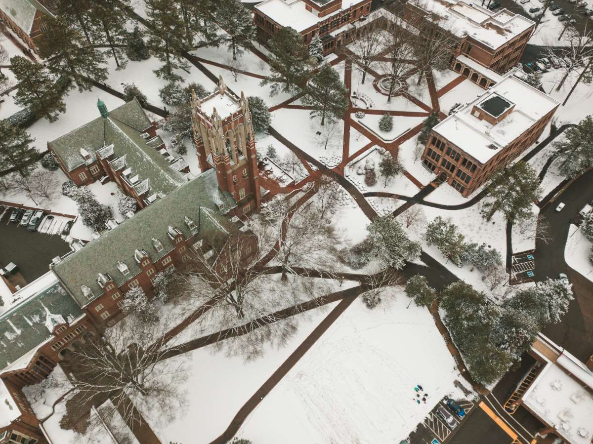 02 University of Richmond UofR - Virginia - Campus School - Lake Winter Snow - Aerial Nature Trail.JPG