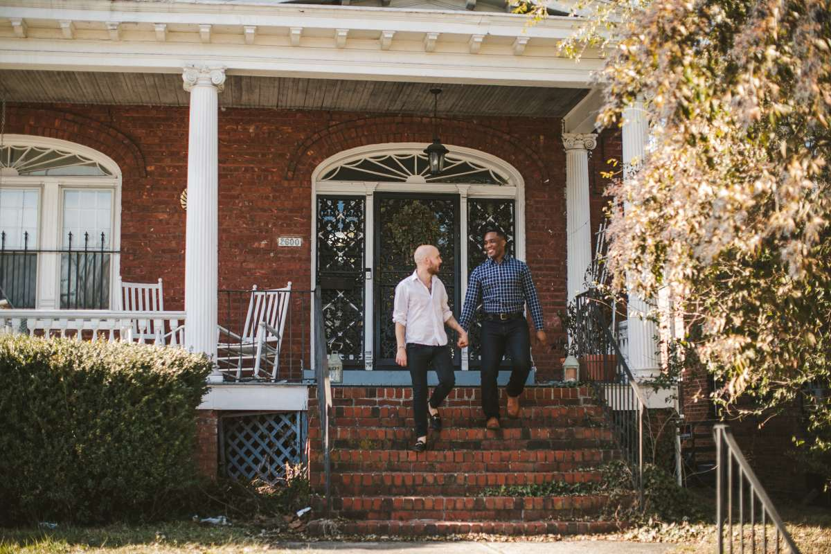 03 Richmond Virginia Northside - Home House Design - Couple Gay LGBT - Porch Columns Brick - Sunny Happy Smile.JPG