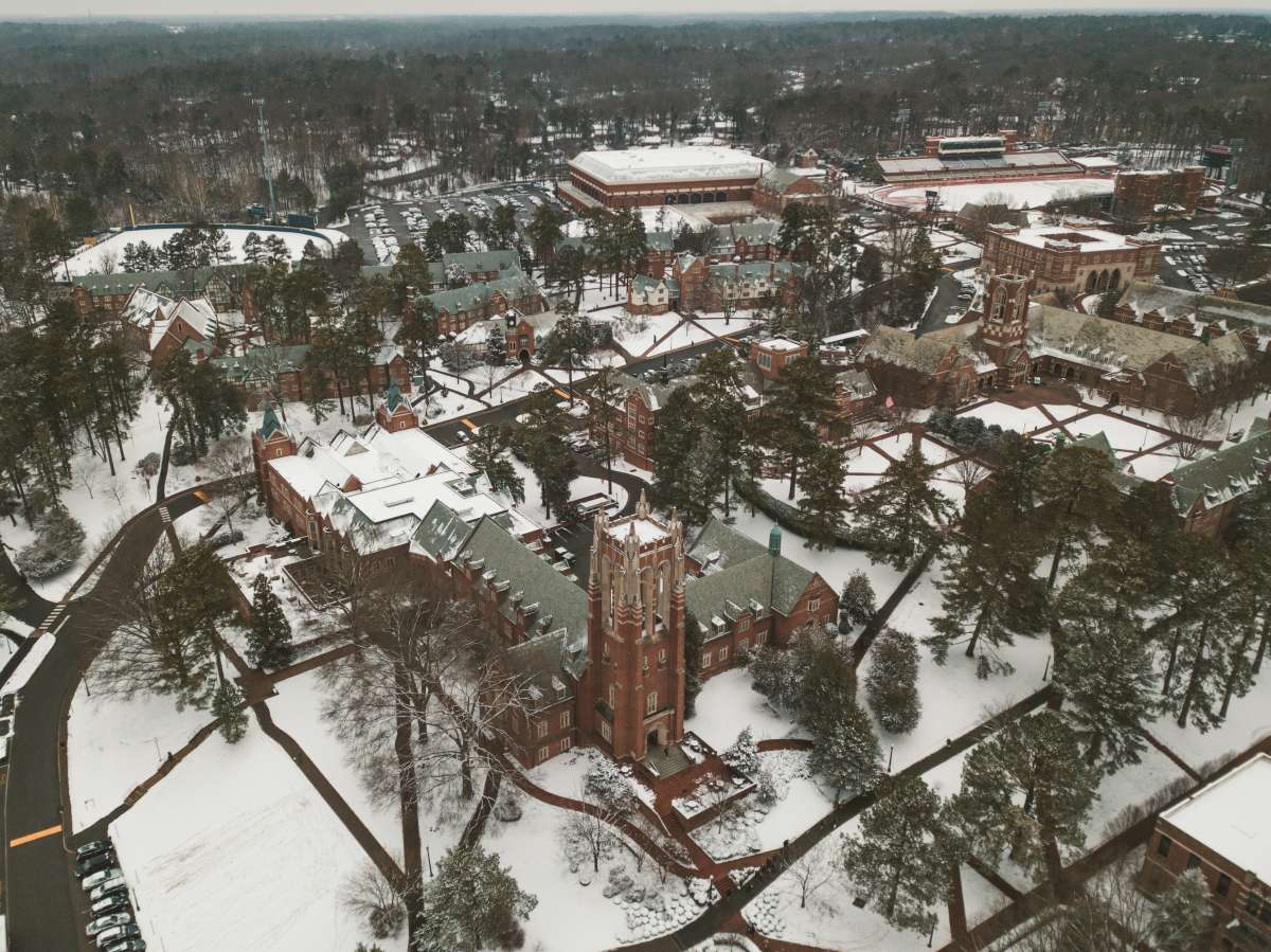 03 University of Richmond UofR - Virginia - Campus School - Lake Winter Snow - Aerial Nature Trail.JPG