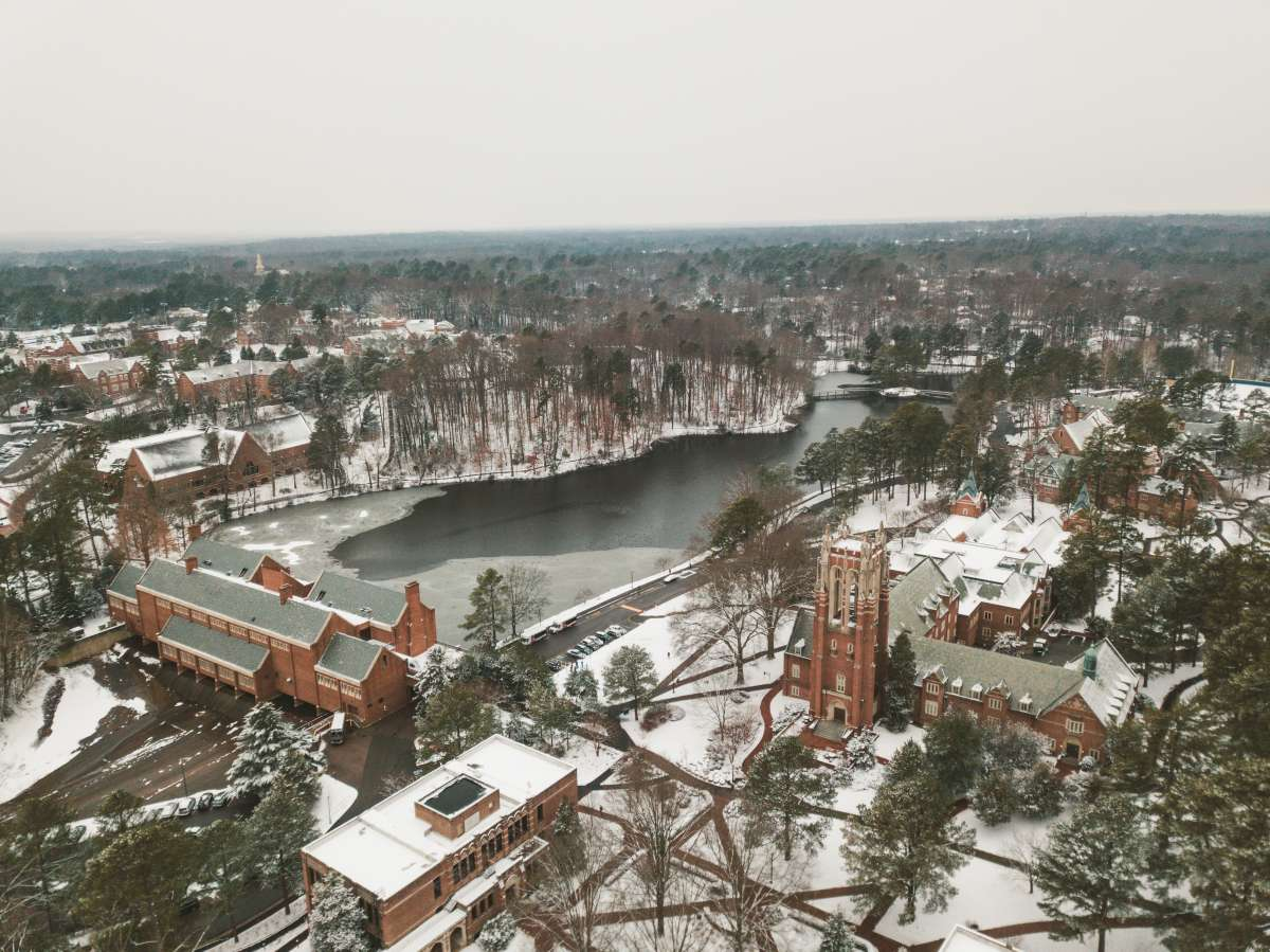 04 University of Richmond UofR - Virginia - Campus School - Lake Winter Snow - Aerial Nature Trail.JPG