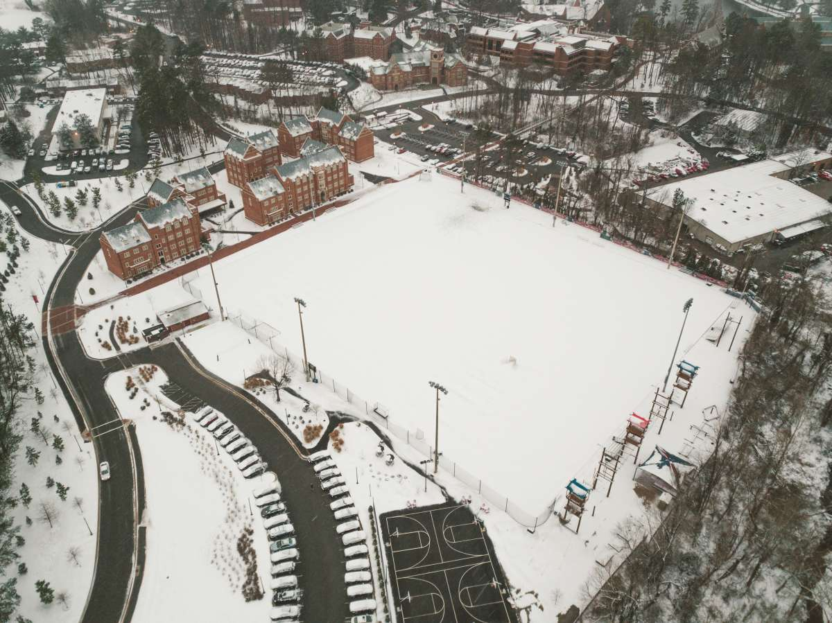 08 University of Richmond UofR - Virginia - Campus School - Lake Winter Snow - Aerial Nature Trail.JPG