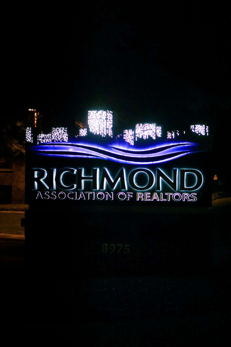Richmond VA - Association of Realtors - logo sign - west end - night - glow 03.JPG