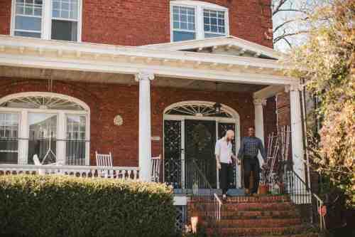 01 Richmond Virginia Northside - Home House Design - Couple Gay LGBT - Porch Columns Brick - Sunny Happy Smile