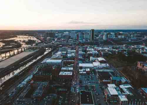 01 Richmond Virginia RVA – Shockoe Bottom Neighborhood Community Downtown – Aerial Sky Skyline Buildings Apartments Businesses – River Bridges Commute