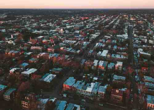 01 Richmond Virginia RVA - Church Hill Neighborhood - Rowhouses house home community - drone sky