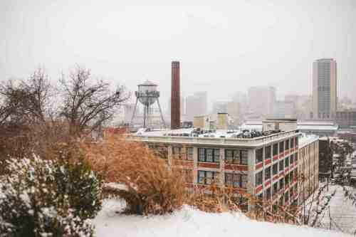 01 Richmond Virginia - Shockoe Bottom Downtown Neighborhood - Lucky Strike Building - Snow Winter Skyline - Historic Landmark