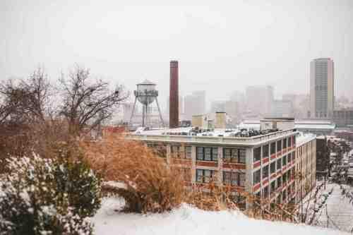 01 Richmond Virginia - Shockoe Bottom Downtown Neighborhood - Lucky Strike Building - Snow Winter Skyline - Historic Landmark