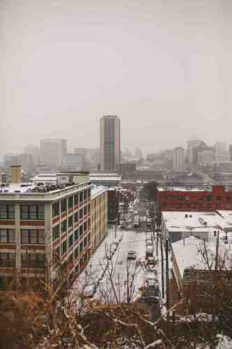 01 Richmond Virginia - Shockoe Bottom Neighborhood Downtown - Skyline - Winter Snow - Buildings Warehouses Apartments