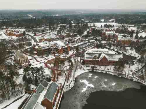 01 University of Richmond UofR - Virginia - Campus School - Lake Winter Snow - Aerial Nature Trail
