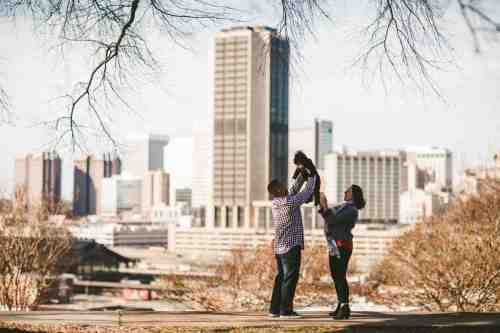 02 Family Mom Dad Baby - Jefferson Park - Richmond Skyline - Downtown - Friendly Safe Happy