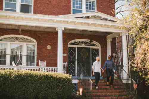 02 Richmond Virginia Northside - Home House Design - Couple Gay LGBT - Porch Columns Brick - Sunny Happy Smile