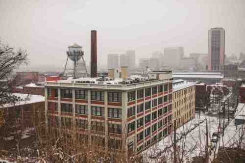 02 Richmond Virginia - Shockoe Bottom Downtown Neighborhood - Lucky Strike Building - Snow Winter Skyline - Historic Landmark