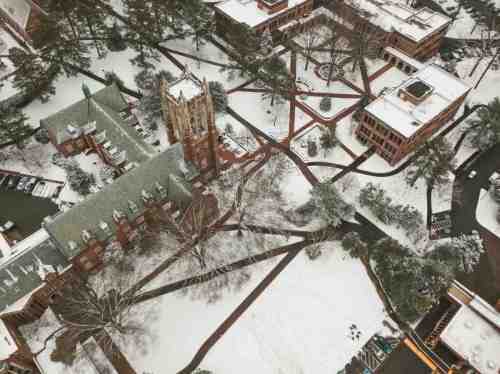 02 University of Richmond UofR - Virginia - Campus School - Lake Winter Snow - Aerial Nature Trail