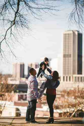 03 Family Mom Dad Baby - Jefferson Park - Richmond Skyline - Downtown - Friendly Safe Happy