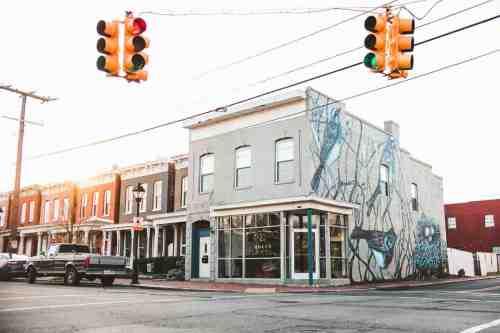 03 Richmond Virginia RVA – Rogue Restaurant Cocktail Bar – Jackson Ward Neighborhood Home Community – Brick Row House Corner Lot Mural
