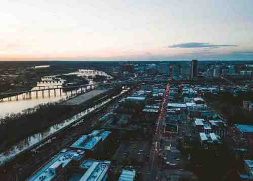 03 Richmond Virginia RVA – Shockoe Bottom Neighborhood Community Downtown – Aerial Sky Skyline Buildings Apartments Businesses – River Bridges Commute