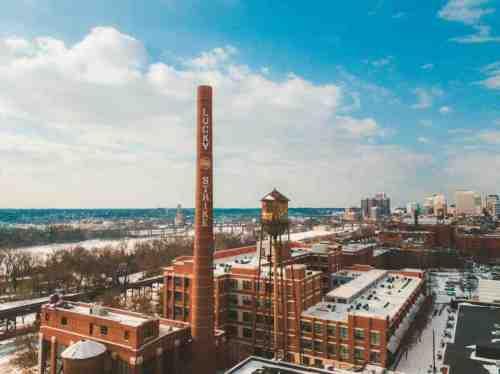 03 Richmond Virginia - Shockoe Bottom Downtown Neighborhood - Lucky Strike Building - Snow Winter Skyline - Historic Landmark