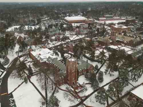 03 University of Richmond UofR - Virginia - Campus School - Lake Winter Snow - Aerial Nature Trail