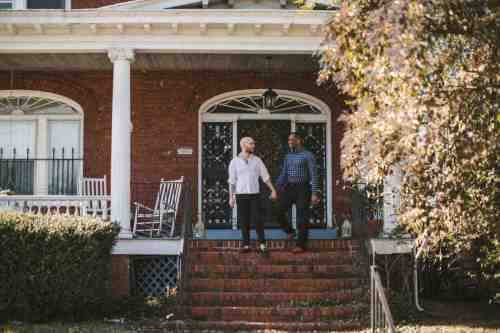 04 Richmond Virginia Northside - Home House Design - Couple Gay LGBT - Porch Columns Brick - Sunny Happy Smile