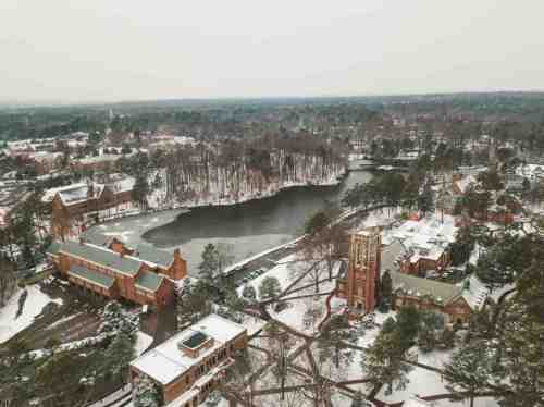 04 University of Richmond UofR - Virginia - Campus School - Lake Winter Snow - Aerial Nature Trail