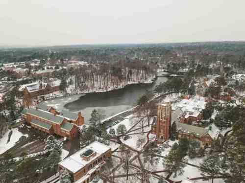 04 University of Richmond UofR - Virginia - Campus School - Lake Winter Snow - Aerial Nature Trail