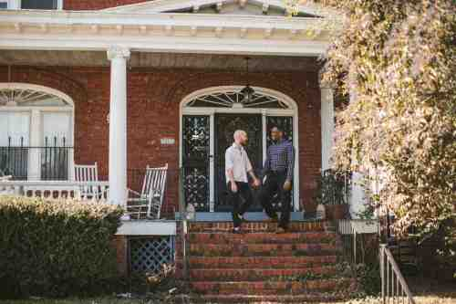 05 Richmond Virginia Northside - Home House Design - Couple Gay LGBT - Porch Columns Brick - Sunny Happy Smile