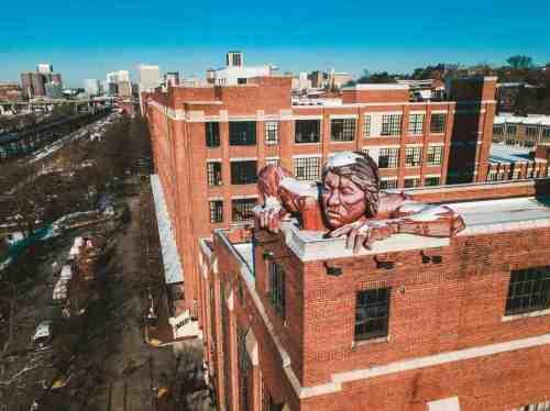 05 Richmond Virginia - Shockoe Bottom Downtown Neighborhood - Lucky Strike Building - Connecticut the Indian Statue - Historic Landmark