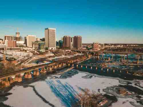 05 Richmond Virginia - Shockoe Bottom Neighborhood Downtown - Aerial Highway Commute Car Drive - Nature Water Trails River Winter Snow Ice - Bridge