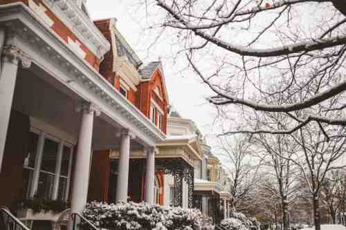05 Richmond Virginia - The Fan Museum District Neighborhood - Row Rowhouse House Home - Brick Building Color Family - Snow Winter Nature
