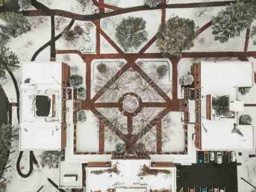 05 University of Richmond UofR - Virginia - Campus School - Lake Winter Snow - Aerial Nature Trail