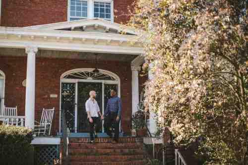 06 Richmond Virginia Northside - Home House Design - Couple Gay LGBT - Porch Columns Brick - Sunny Happy Smile