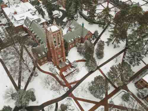 06 University of Richmond UofR - Virginia - Campus School - Lake Winter Snow - Aerial Nature Trail