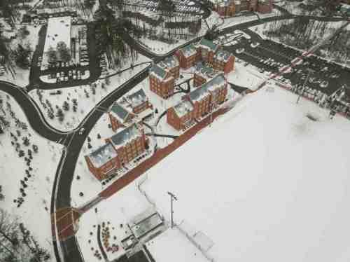 07 University of Richmond UofR - Virginia - Campus School - Lake Winter Snow - Aerial Nature Trail
