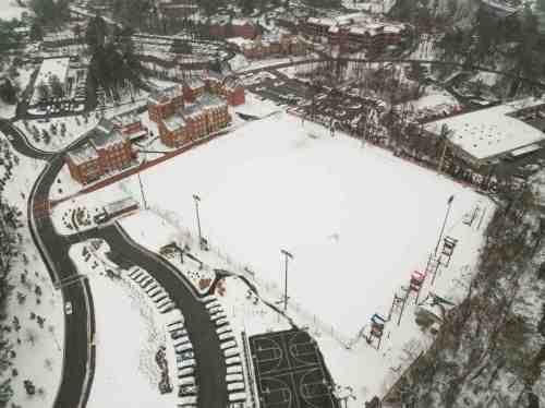 08 University of Richmond UofR - Virginia - Campus School - Lake Winter Snow - Aerial Nature Trail