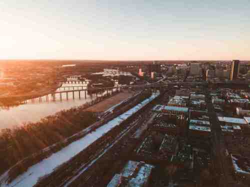 10 Richmond Virginia - Shockoe Bottom Neighborhood Downtown - Aerial Highway Commute Car Drive - Nature Water Trails River - Bridge